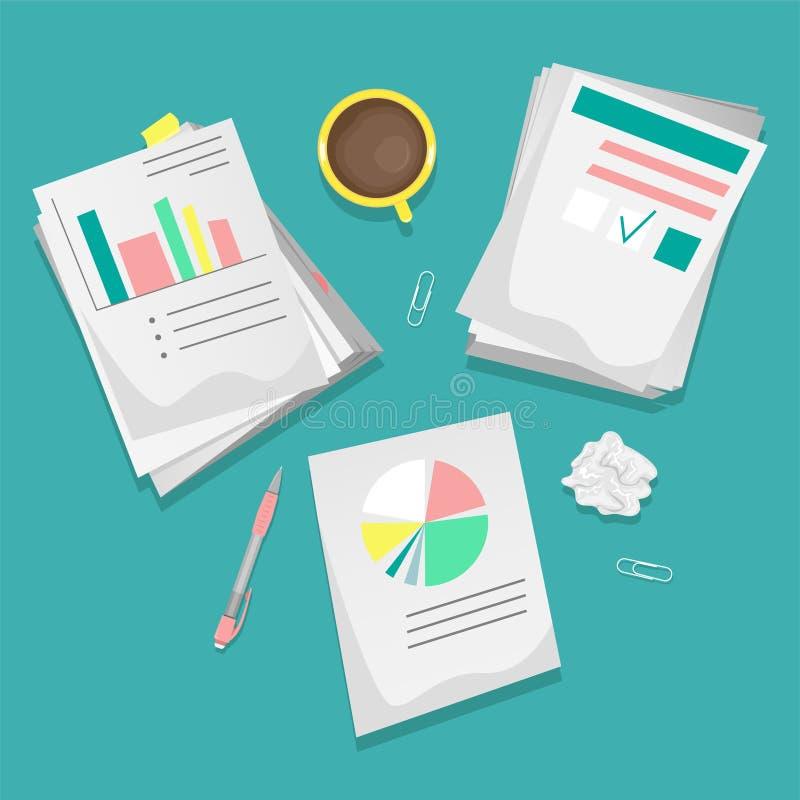 Mucchi delle carte e dei documenti sul desktop con una tazza di caffè e una cancelleria illustrazione vettoriale