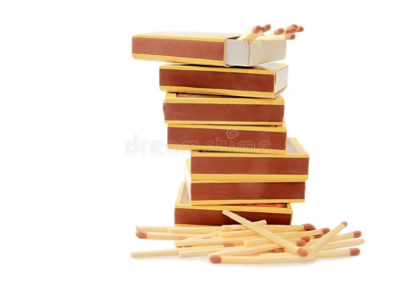 Mucchi delle scatole di fiammiferi fotografie stock