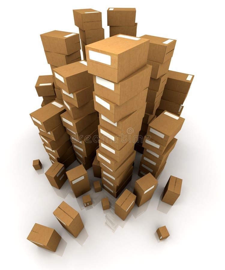 Mucchi enormi delle scatole di cartone illustrazione vettoriale