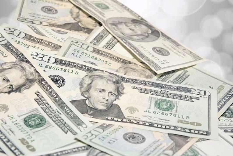 Mucchio degli Stati Uniti venti fatture del dollaro immagine stock
