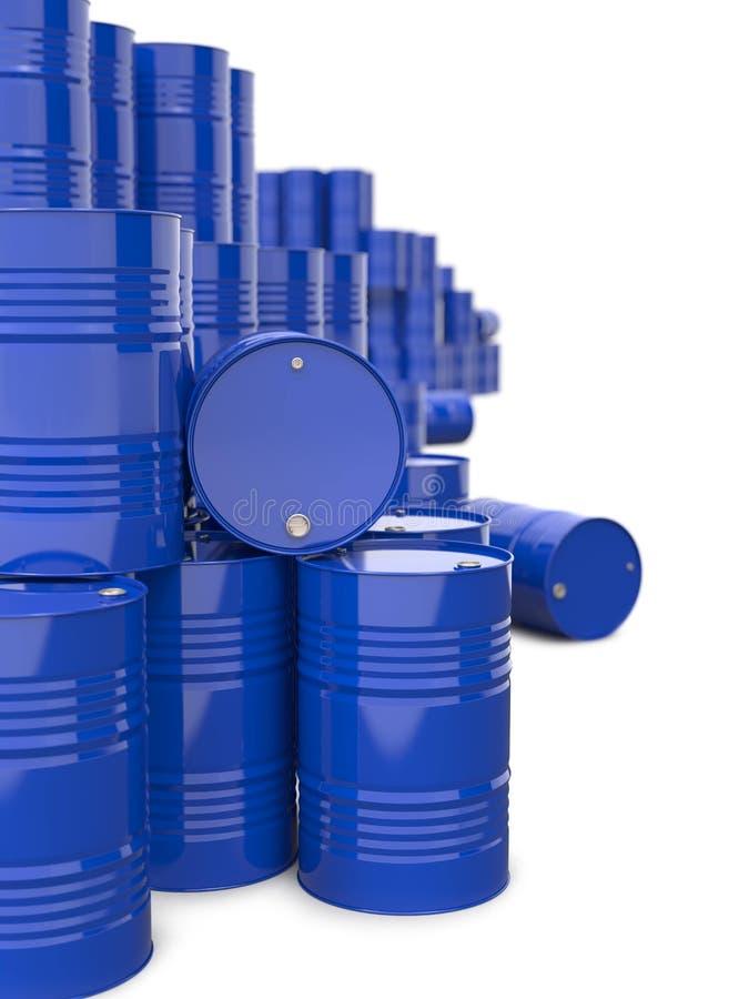 Mucchio dei barili da olio blu del metallo. illustrazione di stock