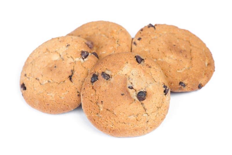 Mucchio dei biscotti di farina d'avena con di pepita di cioccolato fotografia stock
