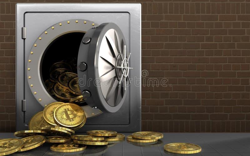 mucchio dei bitcoins 3d sopra i mattoni illustrazione vettoriale