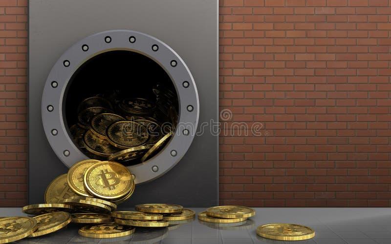mucchio dei bitcoins 3d sopra i mattoni rossi illustrazione vettoriale