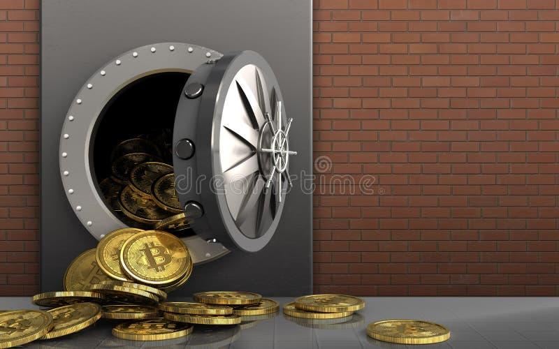 mucchio dei bitcoins 3d sopra i mattoni rossi illustrazione di stock