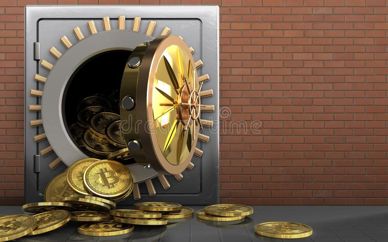 mucchio dei bitcoins 3d sopra i mattoni rossi royalty illustrazione gratis