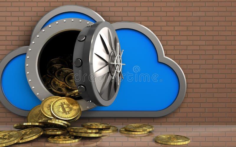 mucchio dei bitcoins 3d sopra la parete di mattoni illustrazione vettoriale