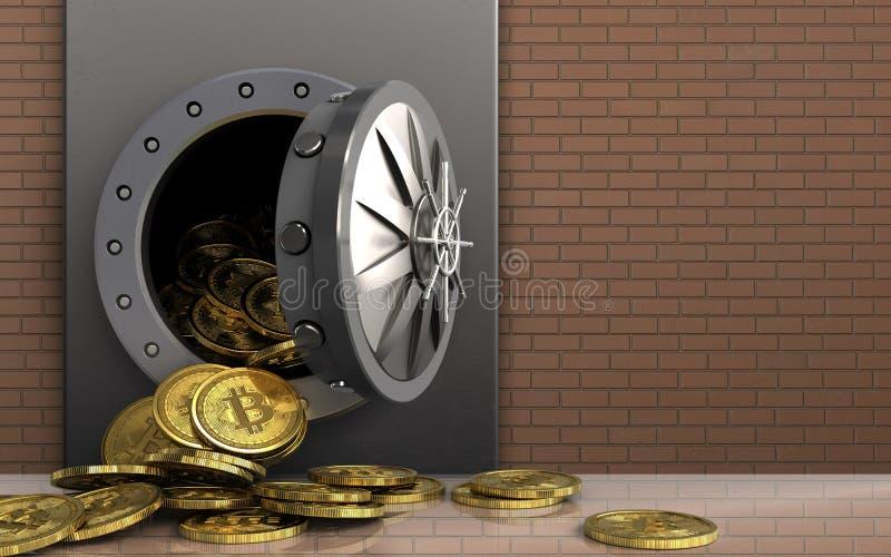 mucchio dei bitcoins 3d sopra la parete di mattoni illustrazione di stock