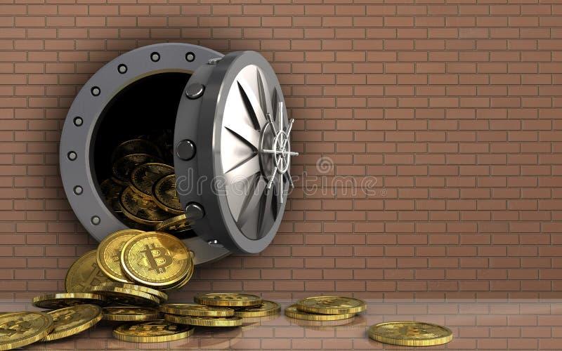 mucchio dei bitcoins 3d sopra la parete di mattoni royalty illustrazione gratis