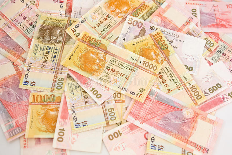 Mucchio dei contanti del dollaro di Hong Kong immagini stock libere da diritti
