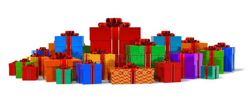 Mucchio dei contenitori di regalo di colore illustrazione di stock