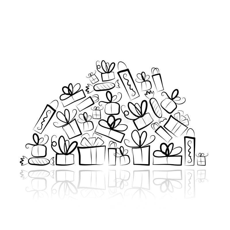 Mucchio dei contenitori di regalo per il vostro disegno royalty illustrazione gratis