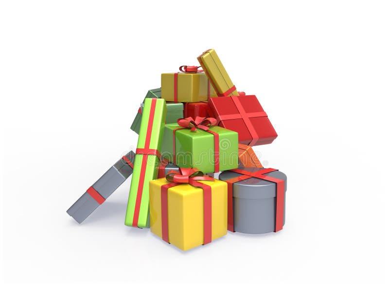 Mucchio dei contenitori di regalo su bianco illustrazione 3D royalty illustrazione gratis