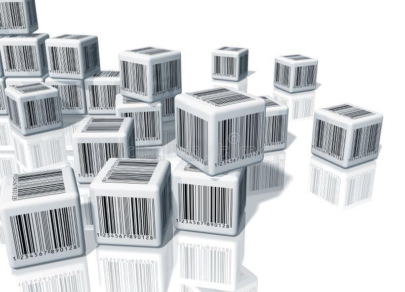 Mucchio dei cubi con i codici a barre illustrazione di stock