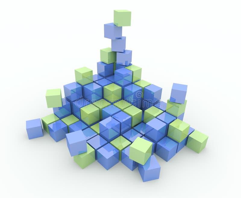 Mucchio dei cubi su una priorità bassa bianca illustrazione di stock