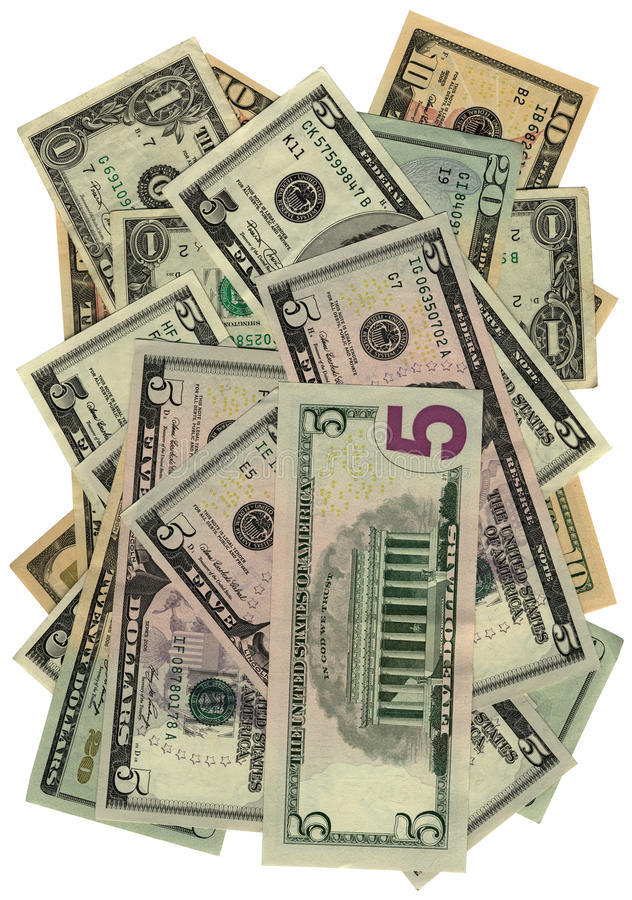 Mucchio dei dollari isolati su bianco, ricchezza di risparmio immagini stock