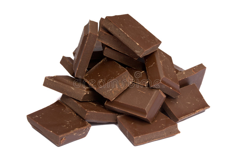 Mucchio dei frammenti del cioccolato fotografie stock