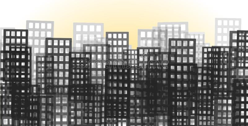 Mucchio dei grattacieli, concetto di pietra della giungla Alba su uno strato separato illustrazione di stock
