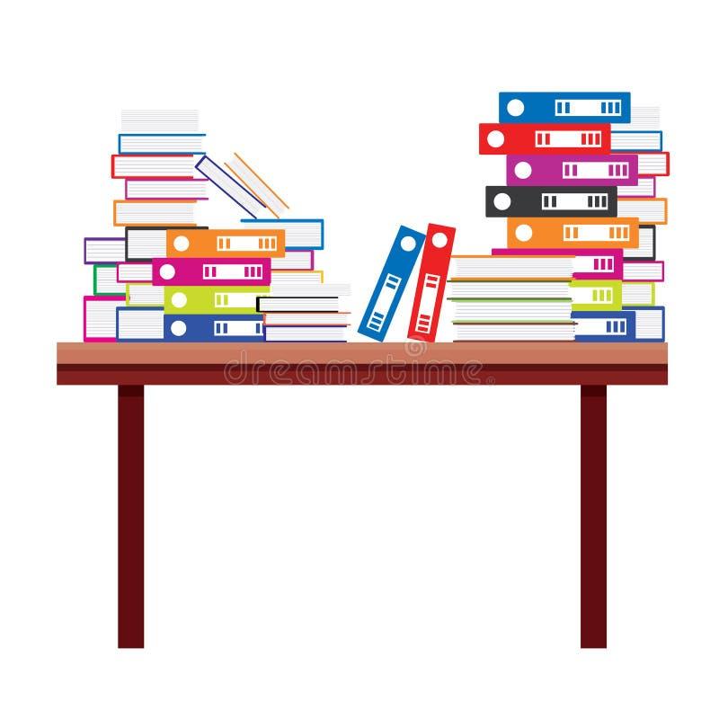 Mucchio dei libri e delle cartelle di archivio del documento su una Tabella di legno illustrazione di stock