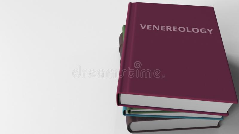Mucchio dei libri su VENEREOLOGIA, rappresentazione 3D illustrazione di stock