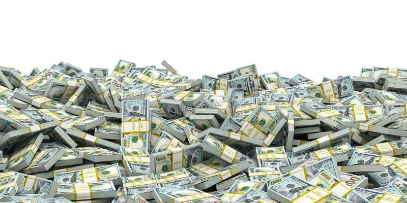 Mucchio dei pacchetti delle banconote delle banconote in dollari Affare, soldi, valuta, fondo di borsa valori royalty illustrazione gratis