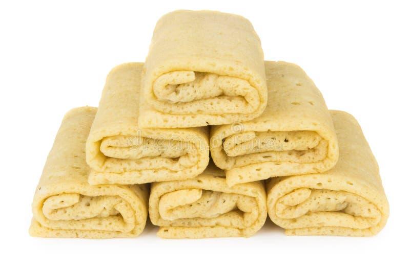 Mucchio dei pancake con il riempimento fotografie stock libere da diritti