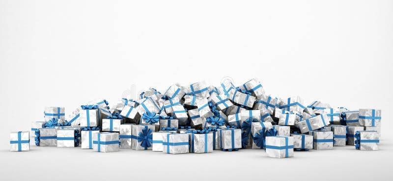 Mucchio dei regali di Natale su priorità bassa bianca illustrazione di stock