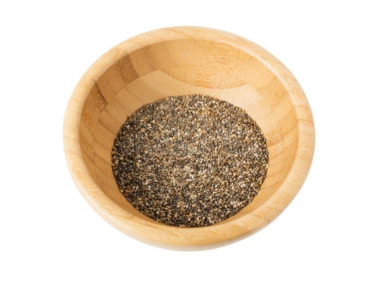 Mucchio dei semi di chia isolati su fondo bianco immagini stock