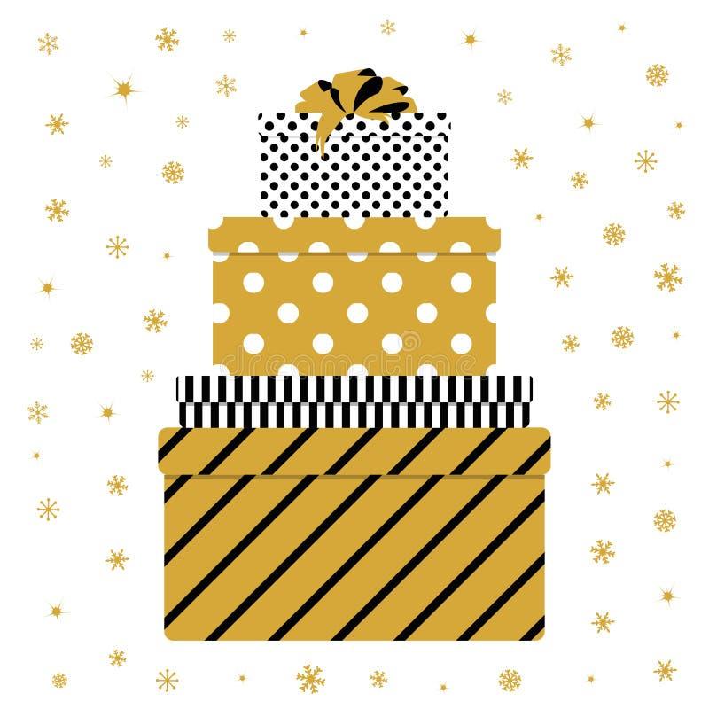 Mucchio del contenitore di regalo variopinto illustrazione di stock
