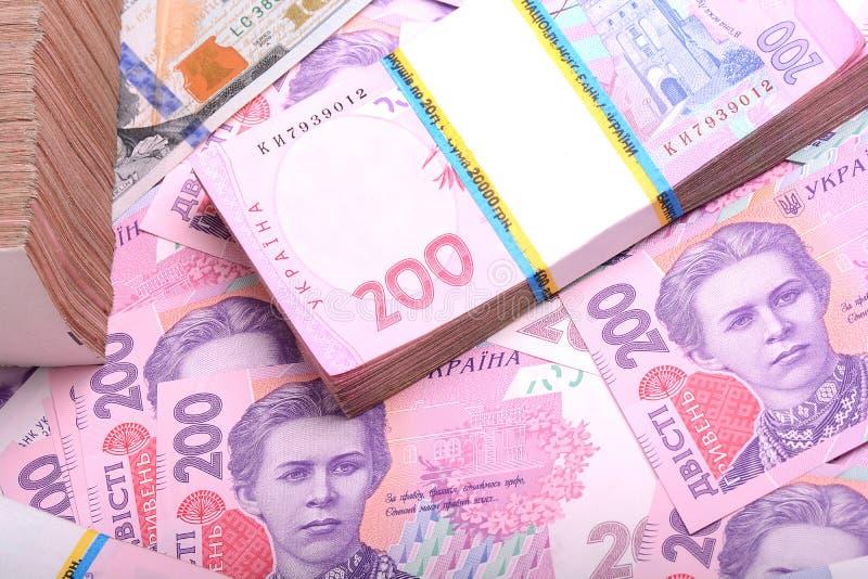 Mucchio del grivna ucraino dei soldi immagine stock