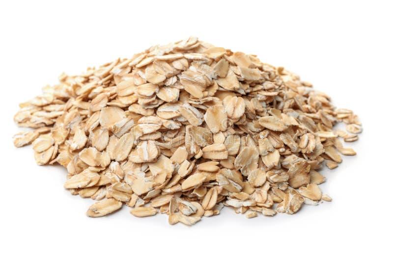 Mucchio della farina d'avena rotolata asciutta immagine stock