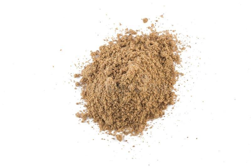 Mucchio della farina della noce di cocco di Brown fotografia stock