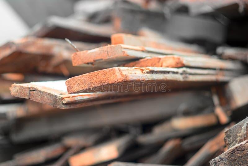 Mucchio della foto di sguardo d'annata del vecchio bordo di legno della plancia immagine stock libera da diritti