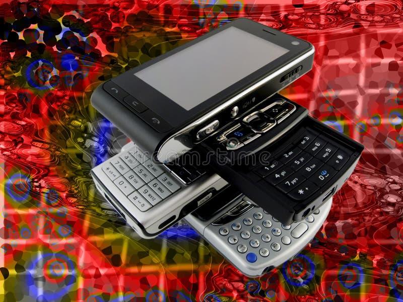 Mucchio della griglia luminosa moderna di parecchi telefoni mobili immagine stock libera da diritti