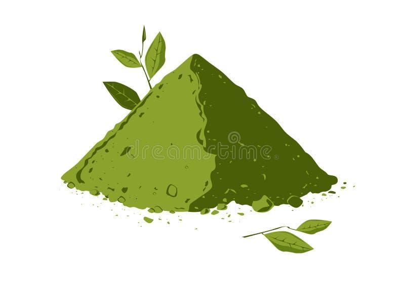 Mucchio della polvere del tè di matcha con le foglie di tè royalty illustrazione gratis
