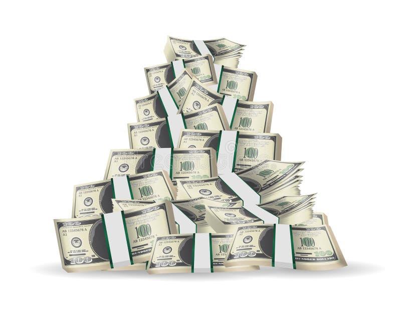 Mucchio delle banconote del pacchetto su un fondo bianco illustrazione di stock