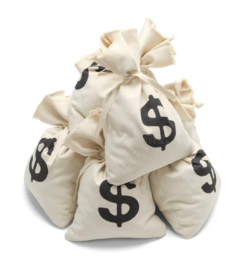 Mucchio delle borse dei soldi fotografia stock libera da diritti