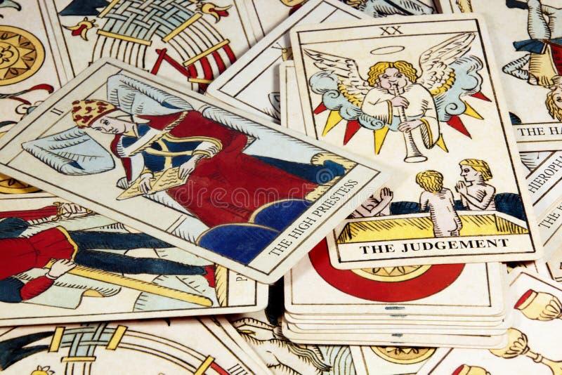 Mucchio delle carte di tarocchi per la predizione fotografie stock