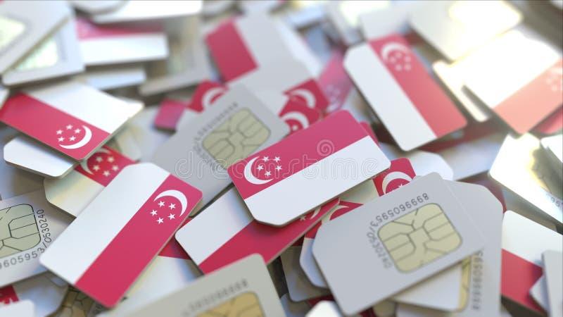 Mucchio delle carte SIM con la bandiera di Singapore Le telecomunicazioni mobili di Singapore hanno collegato la rappresentazione royalty illustrazione gratis
