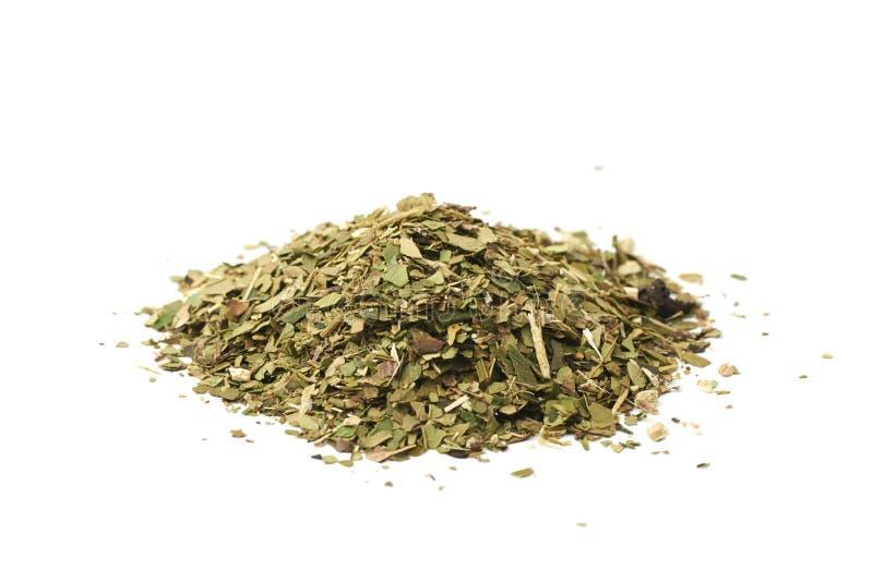 Mucchio delle foglie di tè del compagno isolate fotografia stock libera da diritti