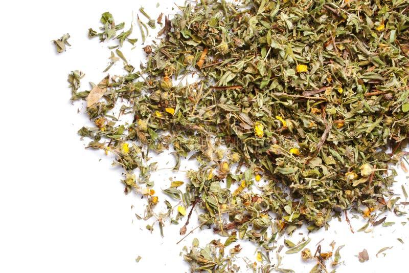 Mucchio delle foglie di tè secche tagliuzzate di Kuril isolate su bianco fotografia stock