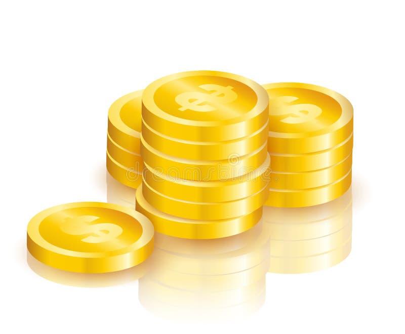Mucchio delle monete dorate brillanti con il simbolo di dollaro con le ombre illustrazione vettoriale