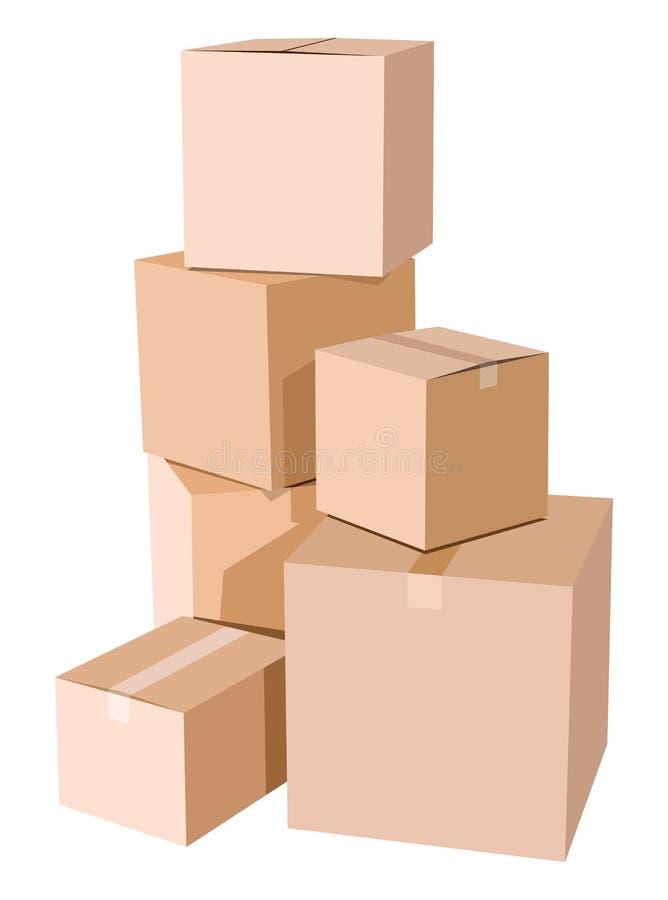 Mucchio delle scatole di cartone illustrazione vettoriale