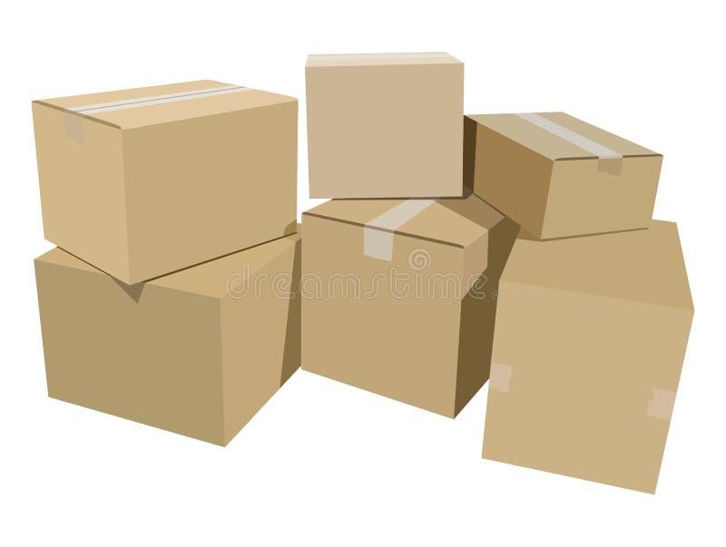 Mucchio delle scatole di cartone royalty illustrazione gratis