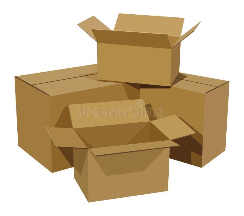 Mucchio delle scatole di cartone illustrazione di stock