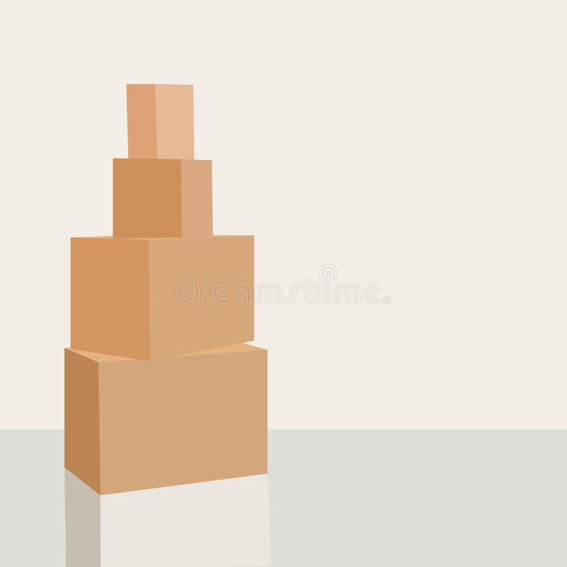 Mucchio delle scatole di cartone pronte ad essere spedito isolato su fondo bianco illustrazione vettoriale