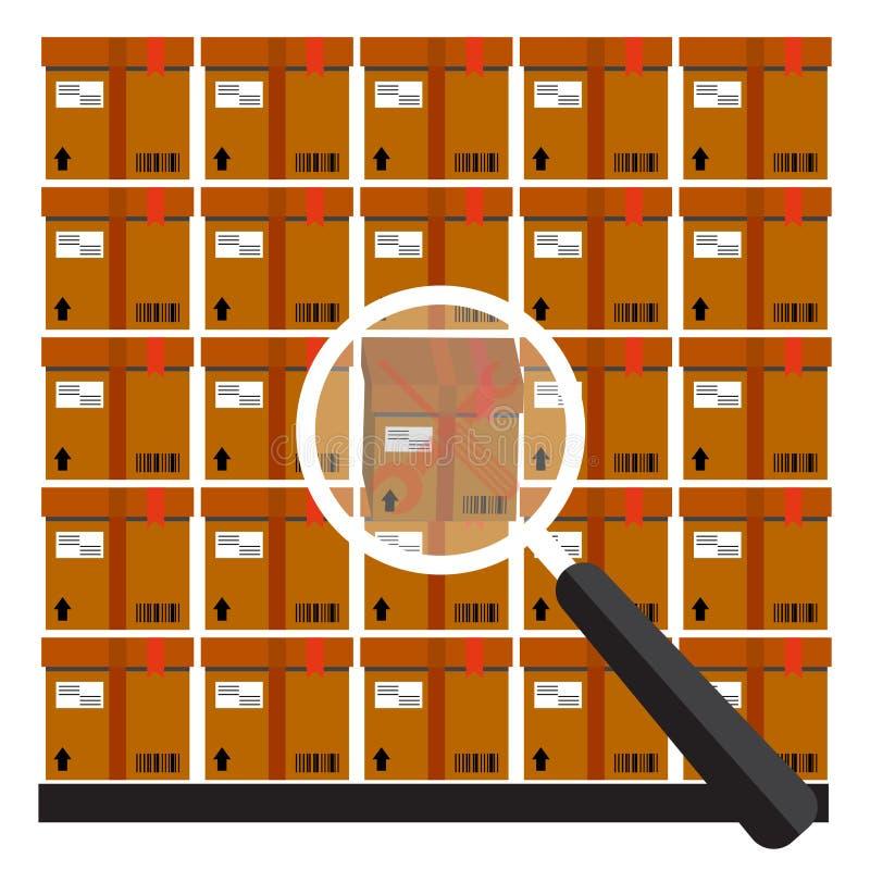 Mucchio delle scatole di cartone sigillate impilate delle merci illustrazione vettoriale