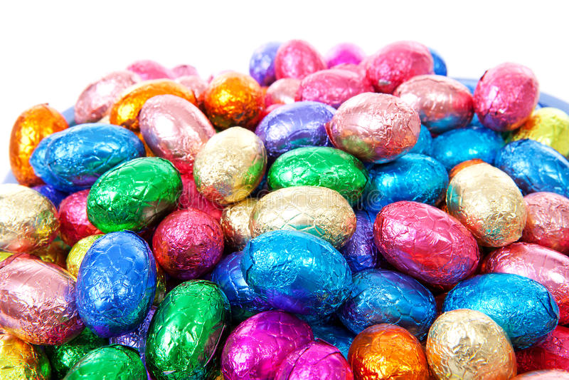 Mucchio delle uova di Pasqua variopinte fotografie stock libere da diritti