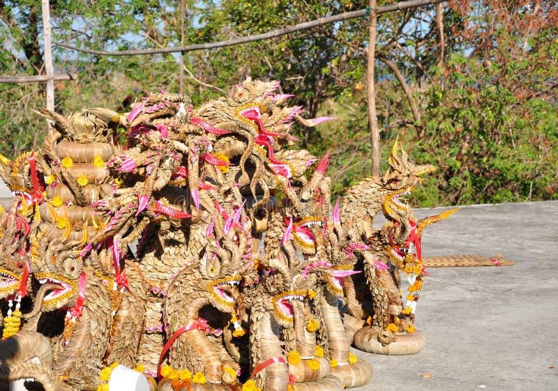 Mucchio di Bai Si King asciutta del Naga nella cultura di nordest di tradizione di celebrazione della Tailandia immagini stock libere da diritti