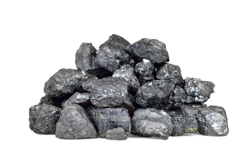 Mucchio di carbone isolato su bianco immagine stock